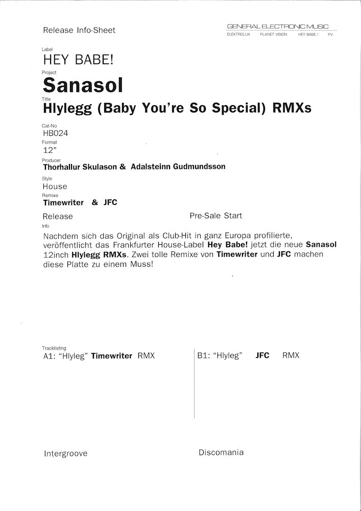 Sanasol Hlylég - Remixes