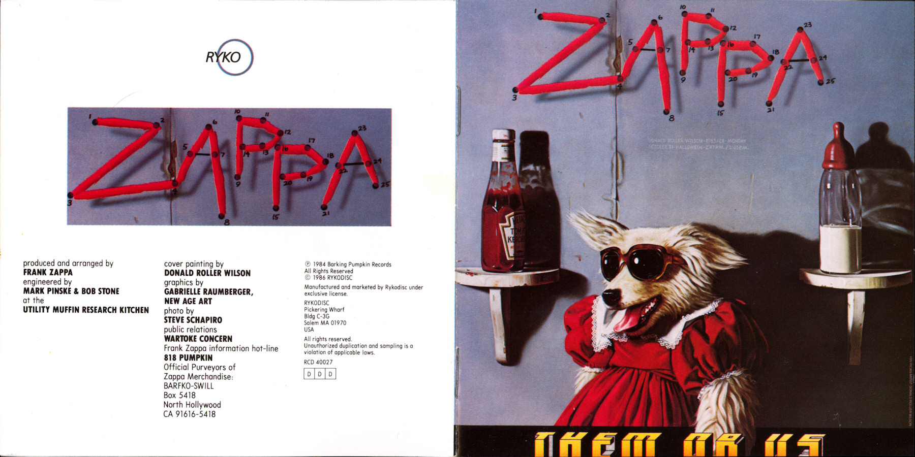 Frank Zappa Official Release 40 Them Or Us Wolf S
